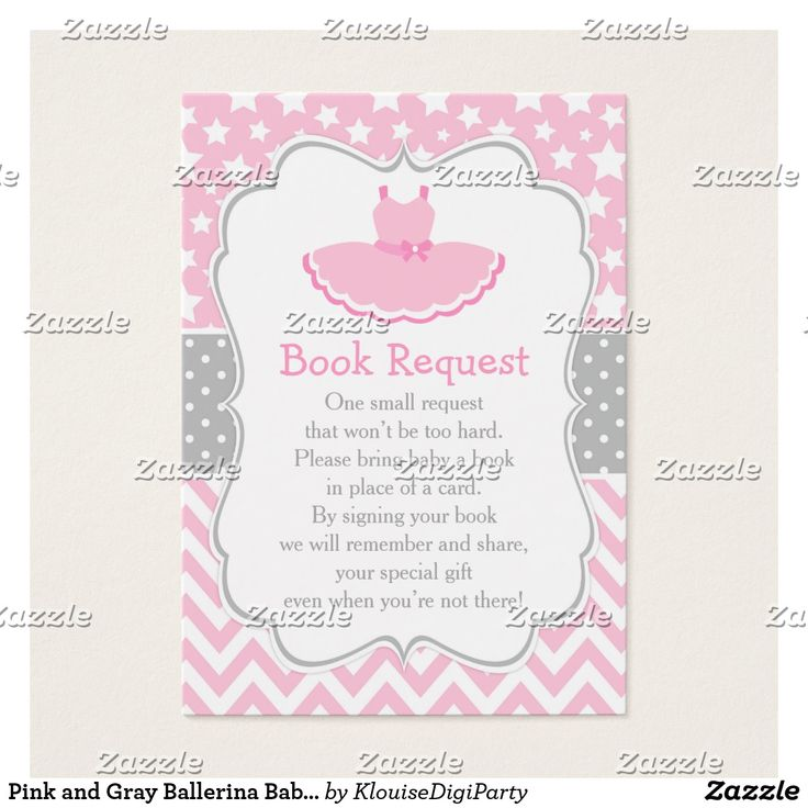Pink and Gray Ballerina Baby Shower Book Request Business Card