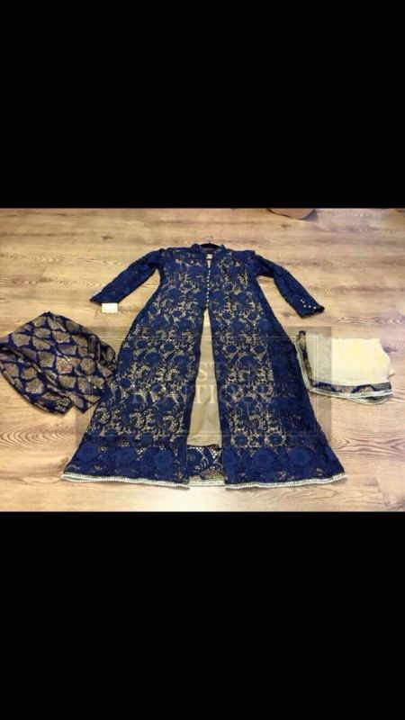 Ladies salwar kameez Indian Pakistani Suits. Jamawar Salwar With Netted Gown.