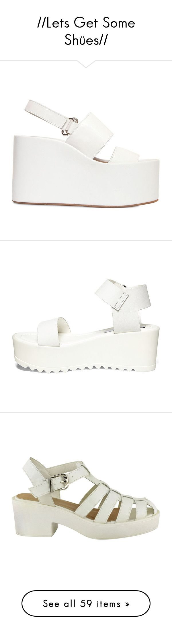 """""""//Lets Get Some Shües//"""" by wallfl0wers ❤ liked on Polyvore featuring shoes, blackandwhite, sandals, white, white wedge shoes, leather sandals, white platform shoes, wedges shoes, wedge sandals and heels"""
