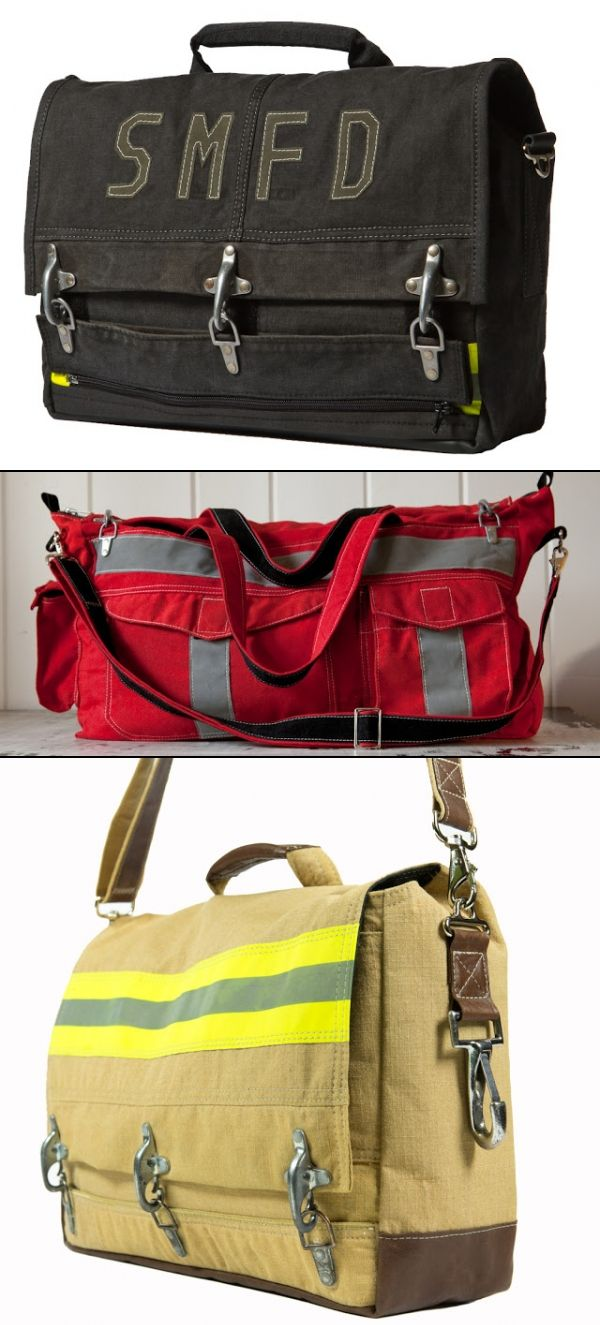 These are SO COOL!  Custom bags made out of firefighter's old turnout gear.  What a great way to honor your favorite firefighter.  Made by Evon Cassier.