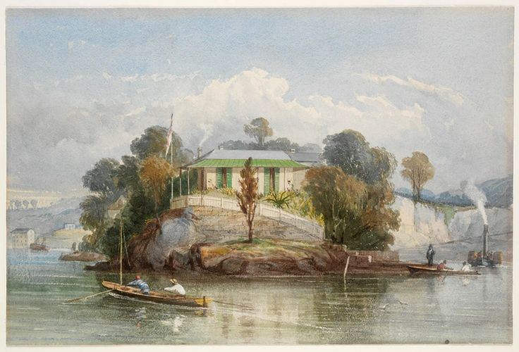 John Skinner Prout, Sydney Harbour, possibly Blues Point, ca. 1841-1843. Watercolour. The cottage bears what appears to be the white ensign of the Royal Navy flying, possibly a Royal Navy shore establishment. Mitchell Library, State Library of New South Wales: http://www.acmssearch.sl.nsw.gov.au/search/itemDetailPaged.cgi?itemID=442333