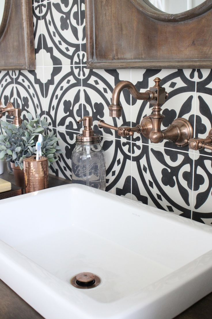 Cement bathroom tiles - Master Bathroom Renovation Bathroom Remodeled Bathroom Bathroom Cement Tile Copper Accents