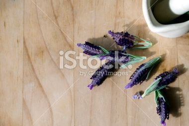 Fresh Lavender with Pestle and Mortar Royalty Free Stock Photo