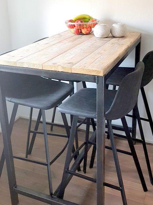 hoge #tafel met #staal en #steigerhout #maatwerk   tafels met rvs en