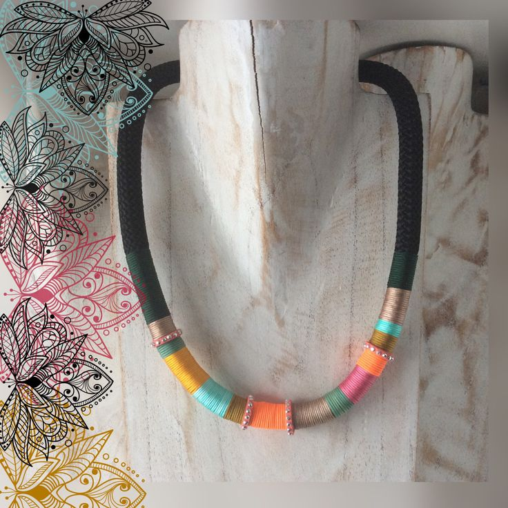 Colourful necklace made from cord, macramé threads. Every necklace is different. 10 euro