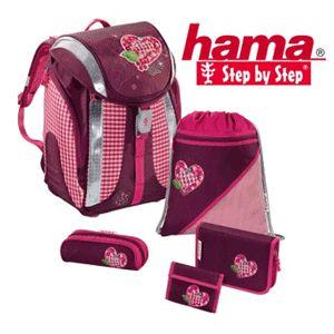 Ghiozdan complet echipat pentru fetite Hama Step By Step model Tweedy Hearts