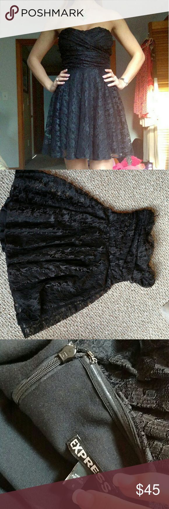The perfect little black lace dress Love this black lace dress for express. Worn once at a wedding. Size 6 with rubber edge around the bust area to keep from falling  and its comfortable perfect for dancing in. Express Dresses Mini