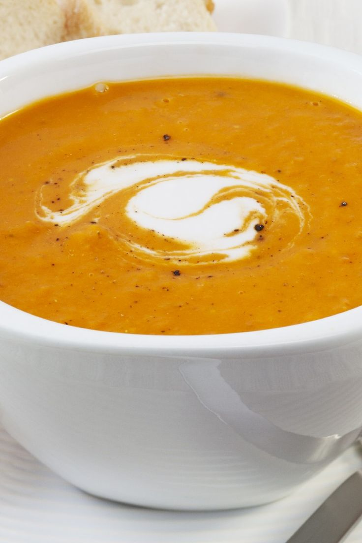 Pumpkin Curry Soup- Substitute butter for margarine, cream for evaporated milk, and veg. stock for chicken. Yummy and vegetarian!