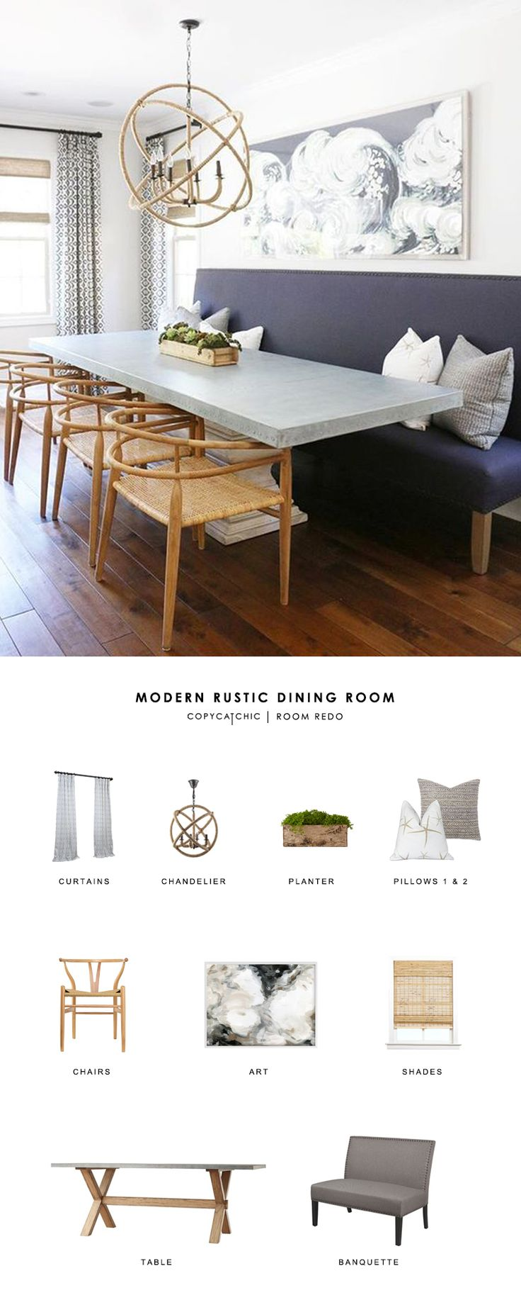 Modern country decor dining room - This Modern Country Dining Room By Blackband Design Gets Recreated For Less By Copycatchic Luxe Living