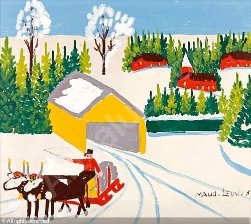 Maud Lewis Canadian Folk Artist Theme: Covered Bridge and Oxen