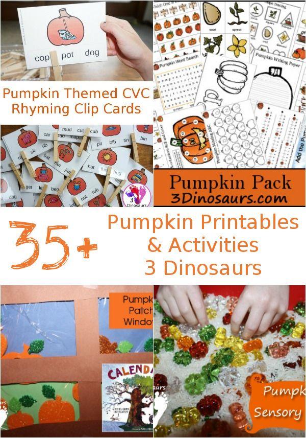 35+ Pumpkin Activities & Printables: una mezcla de aprender a leer, matemáticas, paquetes temáticos, contenedores sensoriales, actividades prácticas, manualidades y más - 3Dinosaurs.com