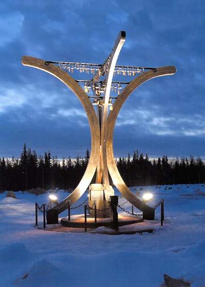 Talvisodan monumentti (Winter War Monument), Raatteenportti (Raate Gate), Suomussalmi, Kainuu, Finland.