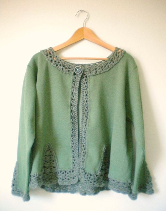 Upcycled Fleece Sweatshirt Jacket in Fern Green by HermitsOfAfton, $35.00