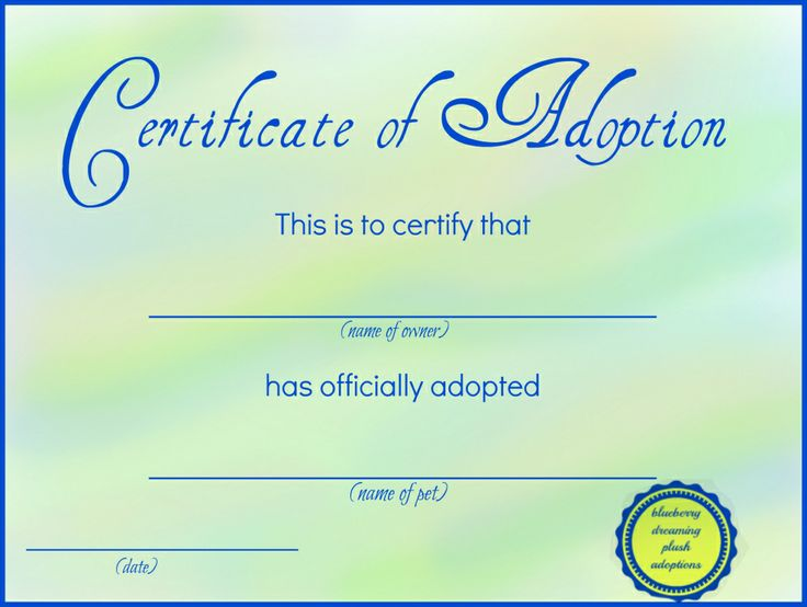 Adoption Certificate Template  CityEsporaCo