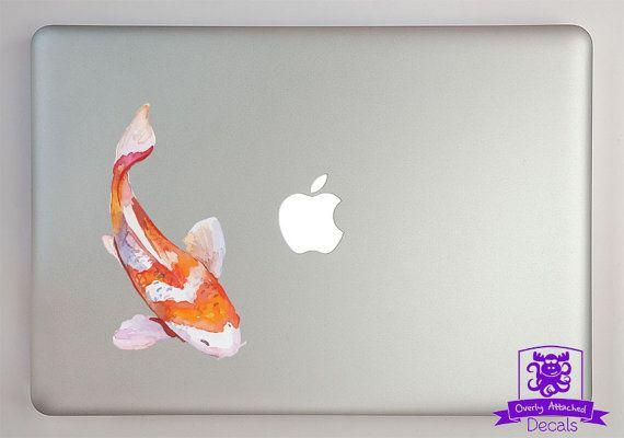 Orange et blanc aquarelle Koi Fish Macbook ordinateur portable autocollant couleur