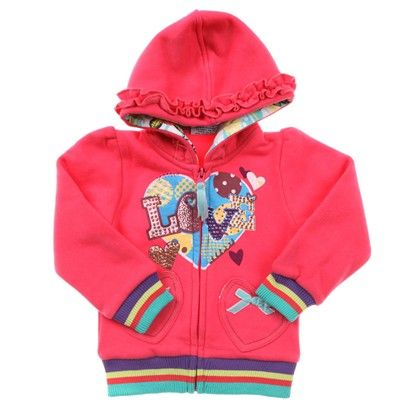 Girls a Hot Pink Hoodie With 'Love' Print And Sparkles.  Heart Pockets With Blue Bows.  Ruffled Hood. -AJ5 $19.00 on Ozsale.com.au