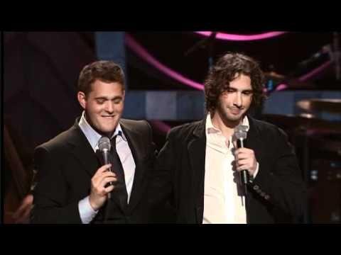 Michael Buble vs. Josh Groban. Michael has a surprise visit from Josh. Made me laugh