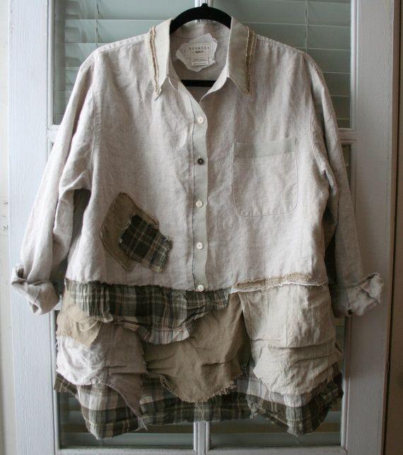 SALE  Shabby Chic / Lagenlook Shirt / by BreatheAgainClothing,