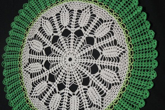 White-green round crochet doily by NatureAnesthesia on Etsy