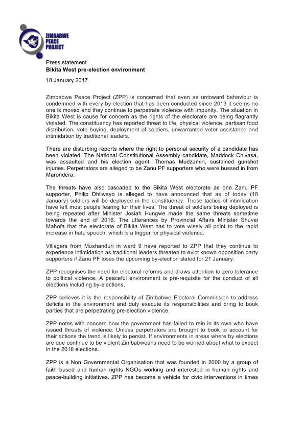 Zimbabwe: Bikita West pre-election environment - http://zimbabwe-consolidated-news.com/2017/01/18/zimbabwe-bikita-west-pre-election-environment/