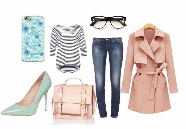 Moda na wiosnę 2015 - stylizacja z miętowymi szpilkami i różowym płaszczykiem na chłodniejsze dni.