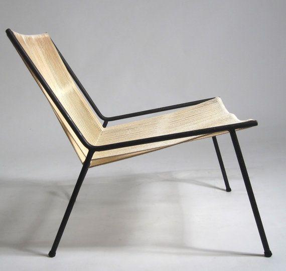 rarest allan gould mid century modern string rope lounge ...