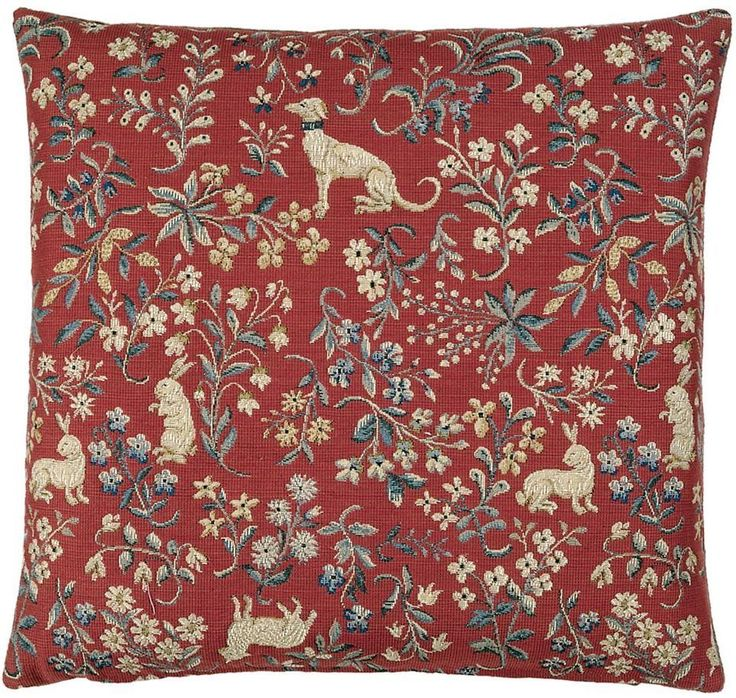 """Heirloom Tapestries - Cluny Mille - Fleurs Decorative Pillow Cover - 19""""x19"""", $75.00 (http://www.tapestries-inc.com/cluny-mille-fleurs-decorative-pillow-cover-19x19/)"""
