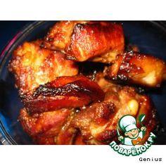 """Свиные ребрышки """"Радость желудка"""" Мясо (свиные ребрышки) — 1,5-2 кг Мед — 150 г Лимон — 1 шт Чеснок — 4 зуб. Перец чили — 1 шт Соевый соус — 100 г Масло оливковое — 3 ст. л. Приправа ( травы сухие,я бы особенно рекомендовала такие как майоран, розмарин, чесночная соль, тимьян) Вино белое сухое (необязательно) — 100 г"""