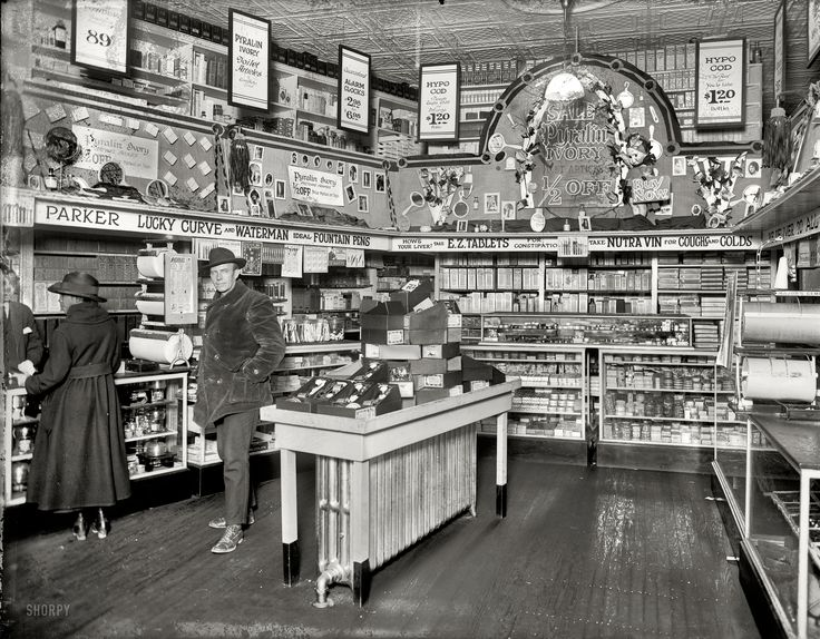 """People's Drug Store, 7th and K."" On the table: a nice assortment of Star vibrators. 1921"
