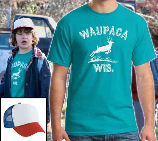 Waupaca WIS T-shirt and Dustin's Mesh Hat from by SpruceMount