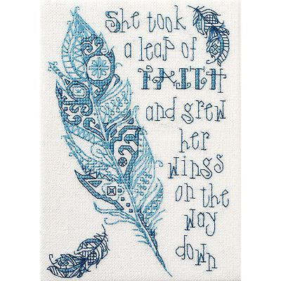 """Leap Of Faith Mini Counted Cross Stitch Kit-4.75""""X6.75"""" 28 Count  She took a leap of faith and grew her wings on the way down."""