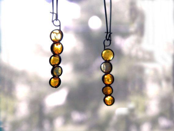 Resin amber dangles yellow amber earrings by TheHappyLollipop