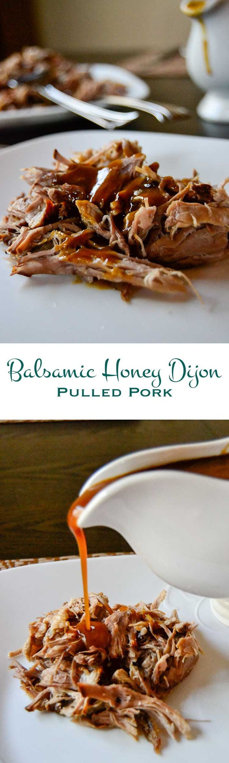 This balsamic honey dijon pulled pork is slathered in a sweet and tangy sauce, then roasted for 8 hours in the slow cooker. Lots of flavor, little effort.