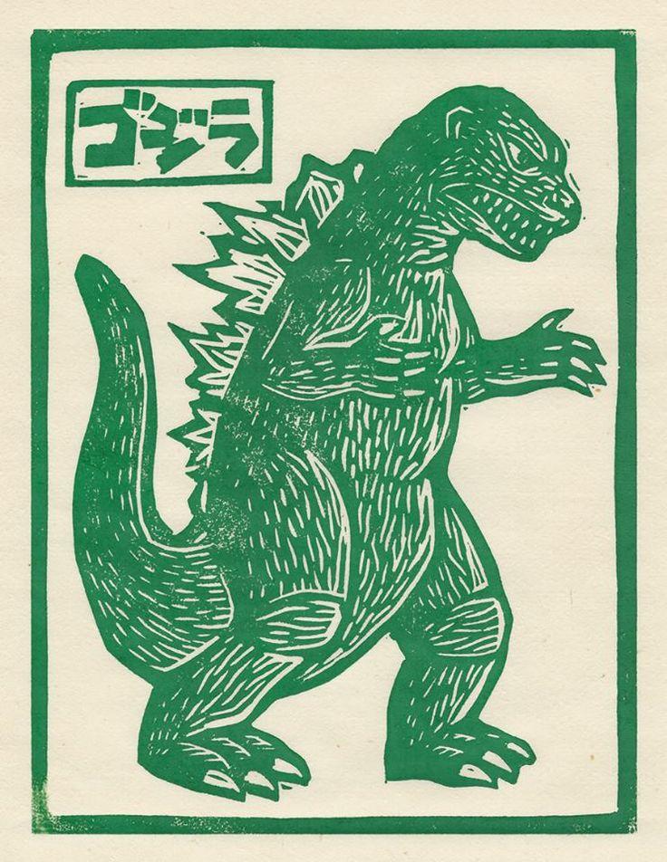 Godzilla linocut