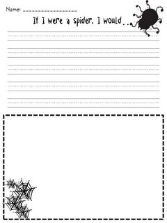 Spider Writing.  This is great prompt writing for students to do. The student gets into the role of a spiders and writes what they would do if they were a spider. I thought this would be great with the elementary level students. It allows the students to have imagery within their writing.