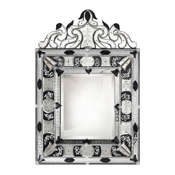 MUSEO Antiqued two-tone bevelled mirror in traforo Venetian style with engravings. Fretworks in bevelled mirror fixed with screws. Structure in black matt lacquered wood.