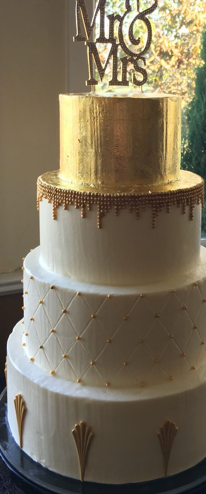 Art Deco Wedding Cake   As a Buttercream Wedding Cake baker, I get lots of requests to add gold and silver to make the wedding cakes shine...