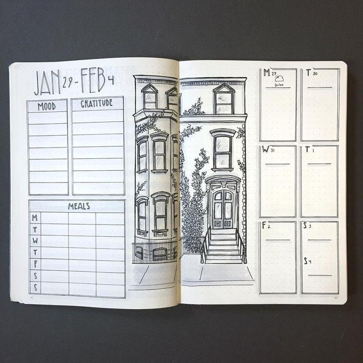 Bullet journal weekly layout, building drawing, mood tracker, gratitude tracker, meals tracker, minimalist daily headers. | @artofthebujo