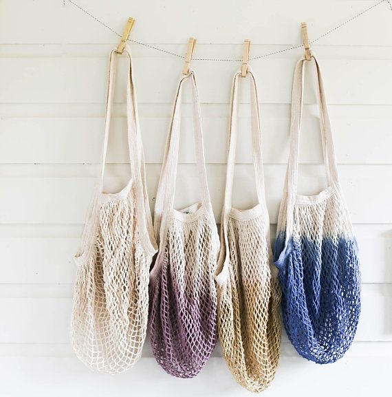 Tote Bag Handmade Crochet Eco friendly Cotton Mesh Beach Bag Market Bag