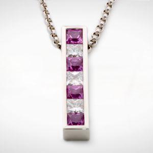 Pink Princess Cut Sapphire and Diamond Channel Set Pendant