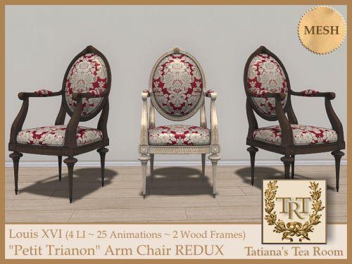 "Louis XVI ""Petit Trianon"" Arm Chair REDUX   #SecondLife"