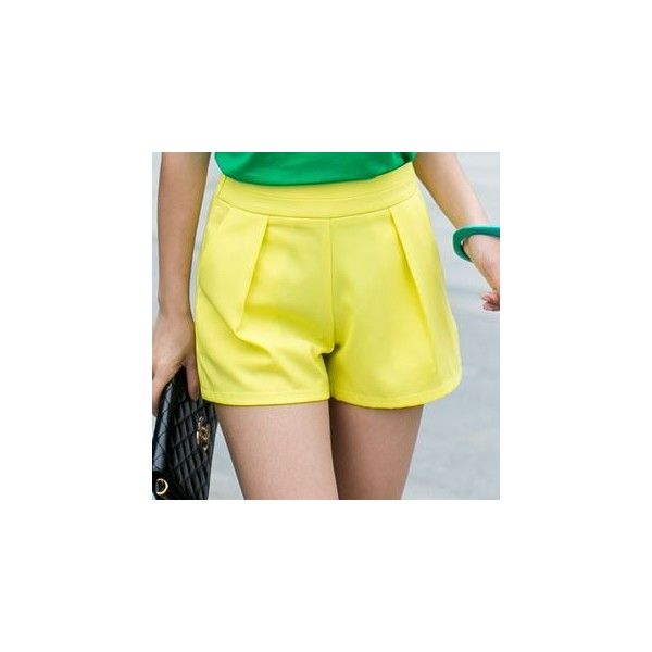 Shorts ($15) ❤ liked on Polyvore featuring shorts, women, yellow shorts and cotton shorts