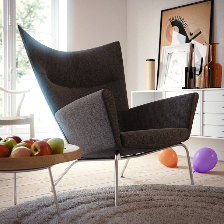 CH445 (Wing chair) by Hans Wegner from Carl Hansen, Fruit Bowl by Hans J Wegner from PP Møbler and Montana storage by Peter J Lassen from Montana