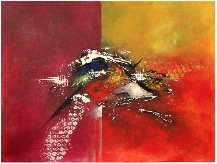 Naam: Vogel Afmetingen: 50x40 Extra informatie: handschilderd; acrielverf en oliverf op canvas doek; meegeschilderde zijkanten; direct op te hangen;  gesigneerd.