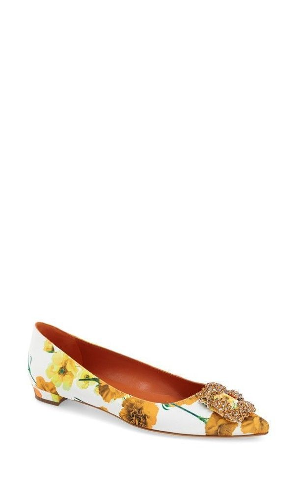 8addc24e214 Manolo Blahnik Jeweled Pointy Toe Flat Yellow Floral  women  style  flat   ManoloBlahnik