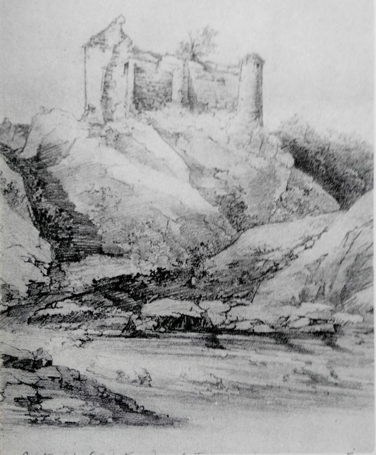 Cetatea Poienari, desen după Gheorghe Tatarescu, 1860. (P. Chihaia - Din cetăţile de scaun ale Ţării Româneşti, 1974, Bucureşti)