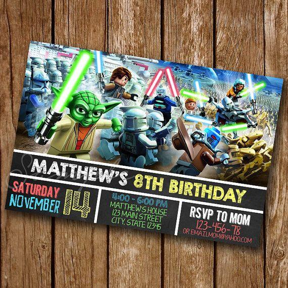 LEGO Star Wars Lego Star Wars anniversaire Invitation, Invitation de Star Wars, Lego Star Wars partie, Lego Star Wars #059