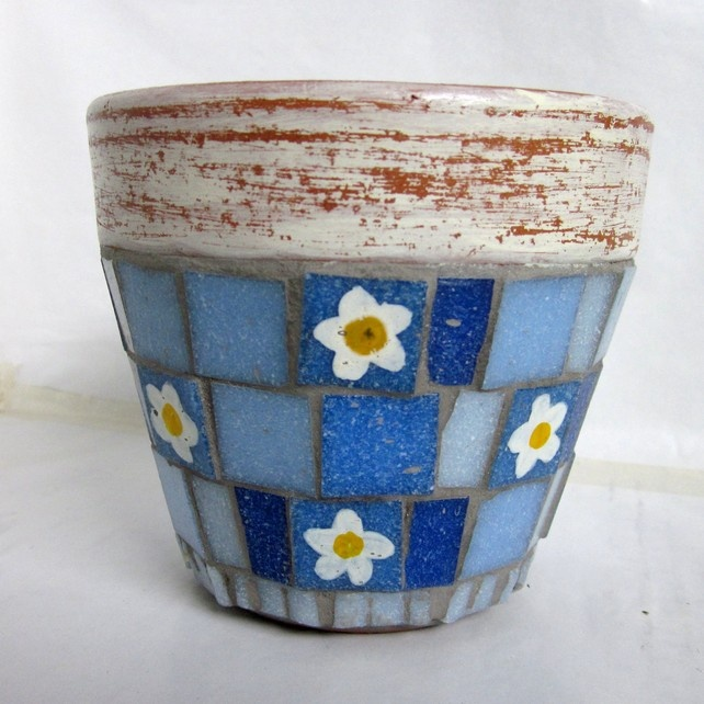 13/1 WILDFLOWERS - Sky Blue White Primrose Mosaic Garden Plant Pot, by JoSara
