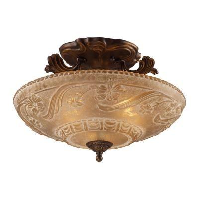 Titan Lighting 3-Light Golden Bronze Ceiling Semi Flush Mount-TN-10131 - The Home Depot