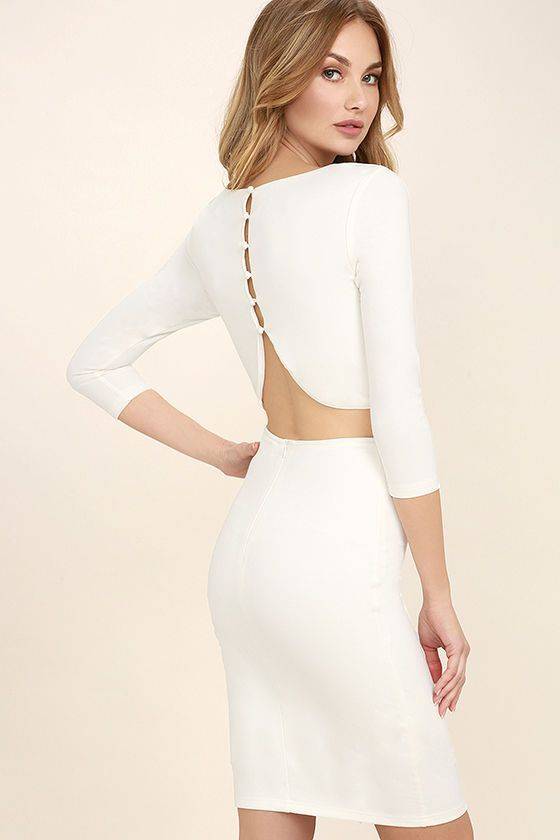 Create an alluring silhouette in the Shape of You White Bodycon Dress! Medium-weight knit shapes a rounded neckline and princess seamed bodice. Covered button placket leads into a sexy open back. Fitted, three-quarter sleeves and bodycon skirt.